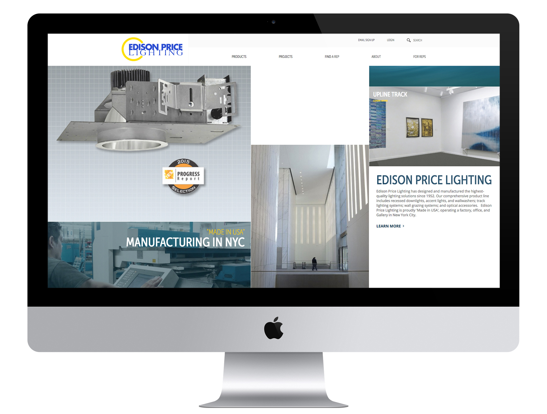 our work edison price lighting web design