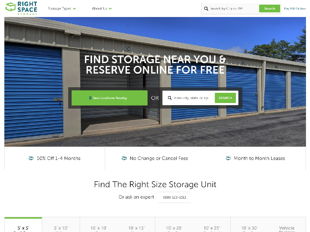 RightSpace Storage Website Screenshot